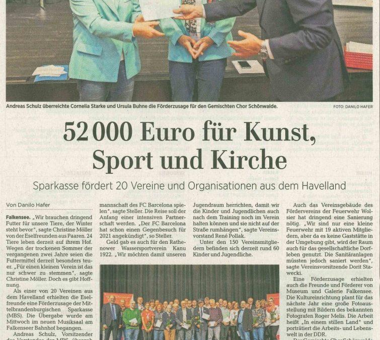 52.000 EUR für Kunst, Sport und Kirche