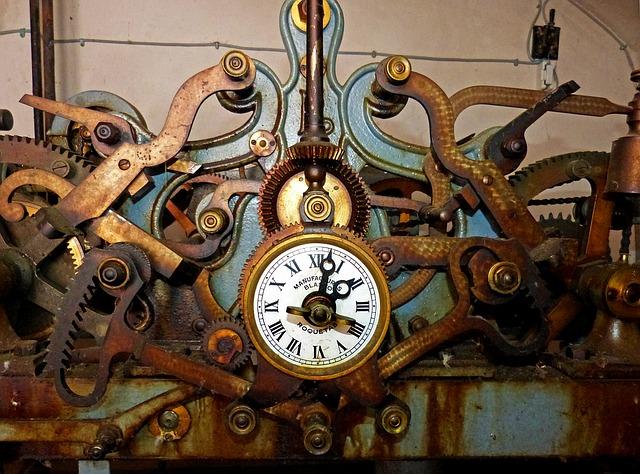 Historisches Uhrwerk auf Reisen